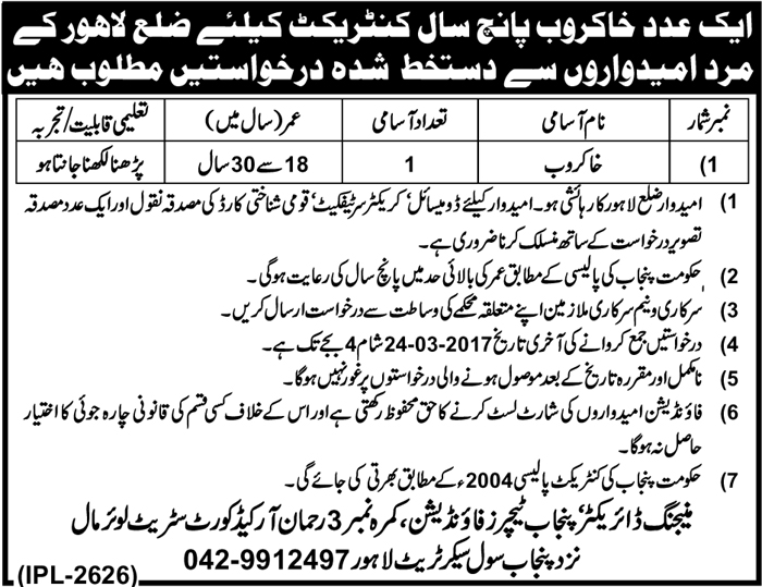 District Lahore Punjab Teacher Foundation Jobs