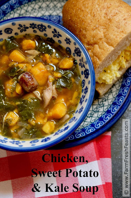 A recipe for chicken soup with sweet potatoes, kale, and breakfast sausage.