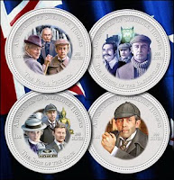 Vasily Livanov and Vitaly Solomin in a 4-coin set to celebrate the 120th anniversary of Sherlock Holmes
