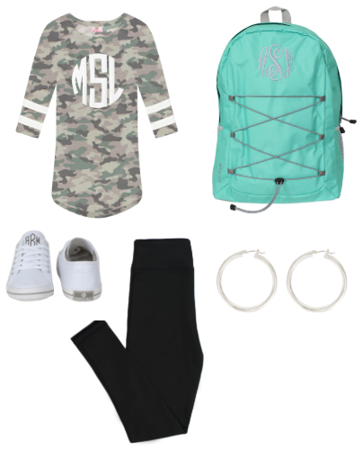 camo tunic with leggings and sneakers
