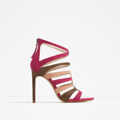 zara high heel multicolored strappy sandals
