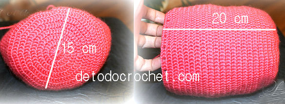 base y cuerpo de mochila de buho tejida al crochet