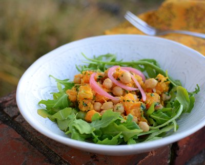Warm Butternut Squash & Chickpea Salad with Tahini Dressing, another healthy vegan dinner ♥ A Veggie Venture. Weight Watchers Friendly. Weeknight Easy. Gluten Free.