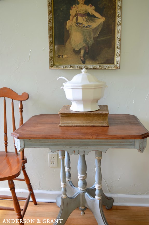 French blue painted and distressed vintage table | www.andersonandgrant.com