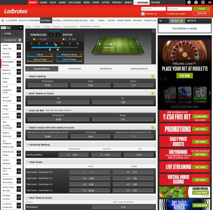 Ladbrokes Live Betting Screen