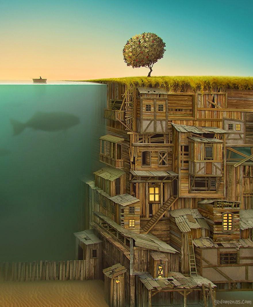 Ilustración, lago pez grande, árbol y casas de madera