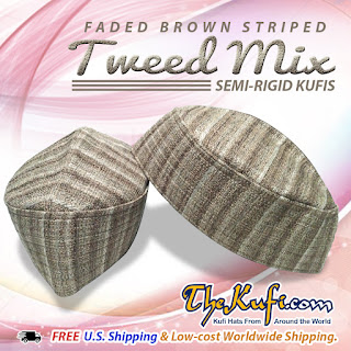 93f7d1dba85 Tweed semi-stiff fabric oval kufi hat with stitching on sides and top.  Available in green and brown and exclusively made by TheKufi.