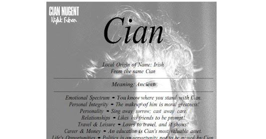 Cian is Irish male name means Ancient
