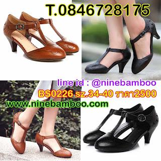 รองเท้าหนังแท้เพื่อสุขภาพหุ้มส้นแฟชั่นเกาหลีมีสายรัดข้อเท้ารูปตัวที ไซส์34-40 นำเข้า พรีออเดอร์BS0226 B2,500.00บาท