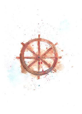 Ship Rudder Watercolor