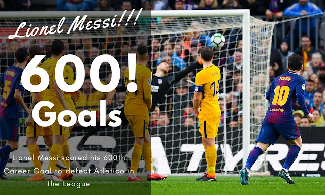 Lionel Messi scored the 600th goals of Career with a splendid free kicks