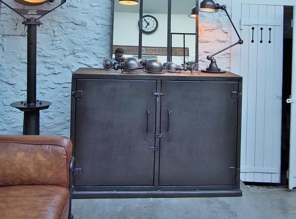 C moda vajillero mueble madera chapa estilo industrial en for Comoda 50 cm ancho