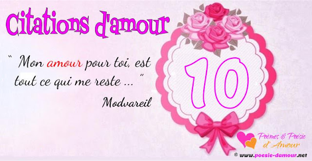Citation d'amour mon amour