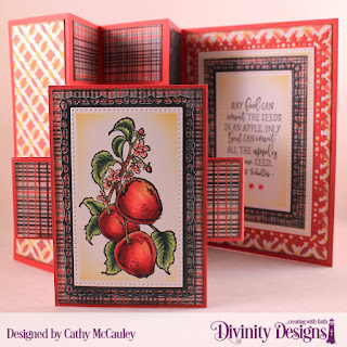 Divinity Designs Stamp Set: Apple Branch, Paper Collection: Christmas 2017, Mixed Media Stencils: Circles, Custom Dies, Half-Shutter Card with Layers, Belly Band, Pierced Rectangles, Lavish Layers
