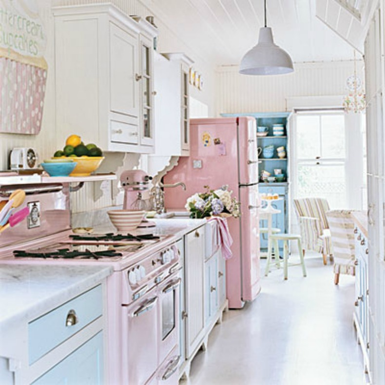 Shabby Chic Coastal pastel kitchen