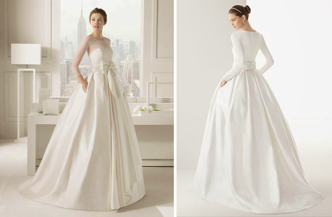 Flare Gathered Ball Gown With Waist Ribbon Sash Be It Chest Line Or Long Sleeves Both Look As Simple Modern And Elegant