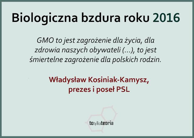 Biologiczna Bzdura Roku 2016 Kosiniak-Kamysz