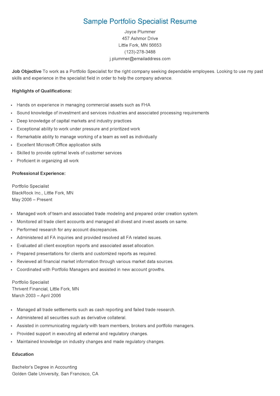 resume samples  sample portfolio specialist resume