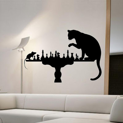 Cat Playing Chess With Mouse Wall Stickers