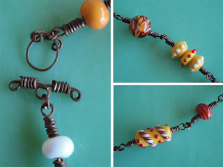 Handmade copper wire clasp lampwork torch glass beads