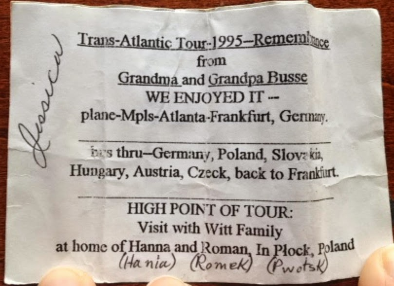 European trip memoir was tucked into a decorative box that Mom and Dad brought back for my niece Jessica. Gifts were brought for everyone in our family. Their Trans-Atlantic Tour took them from Minneapolis to Atlanta to Frankfurt, Germany. They were in Poland, Slovakia, Hungary, Austria and Czeck. They enjoyed it! The high point of the tour was their visit with the Witt family.