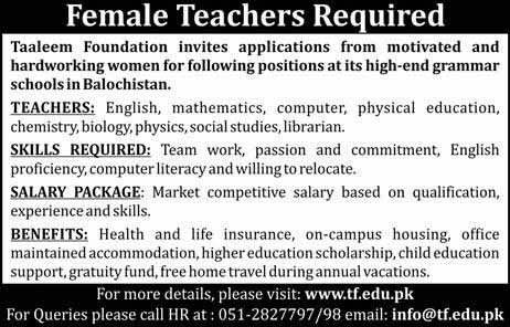 Female Teacher required - www.tf.edu.pk