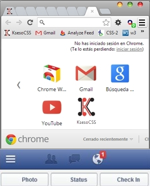navicon 3 líneas en chrome y facebook