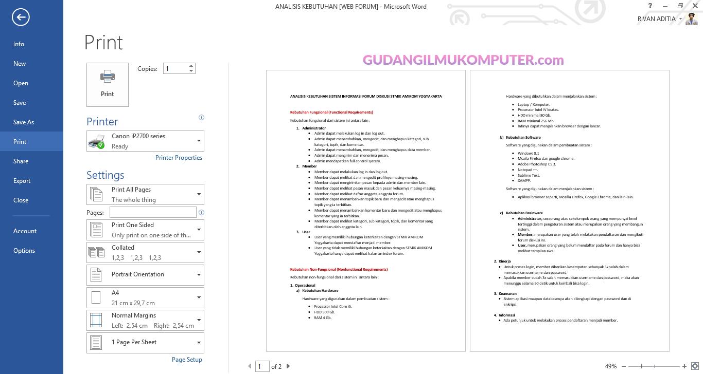 Cara Mencetak Dokumen Pada Microsoft Word