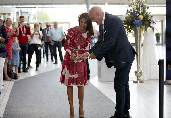 Princess Marie wore Giambattista Valli Rose print ruffled silk georgette dress for opening 2018 New Nordic Jewellery and Watch Fair