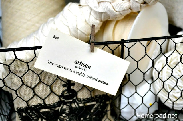 Using Vintage vocabulary cards as tags