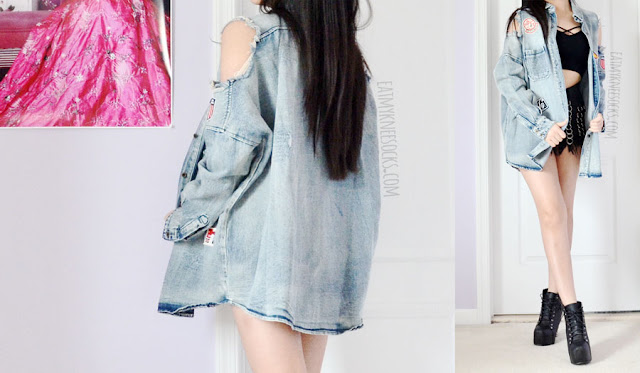 Acid wash oversized denim could shoulder jacket from SheIn, with quirky stitched patches, distressed accents, longline fit and sexy cutouts for the ultimate badass grunge-rock look.