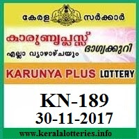 Karunya Plus KN-189 Lottery Result on 30 November, 2017