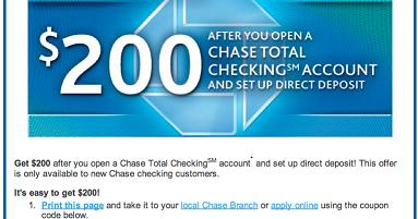 Green Espirit: Free Chase $150/$200 New Checking Account Bonus