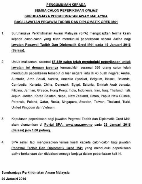 Statistik calon yang menjawab Peperiksaan Online Jawatan Pegawai Tadbir dan Diplomatik (PTD) M41 Januari 2016