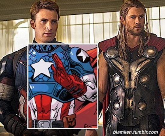 Chris Evans as Captain America and Chris Hemsworth as Thor in advance still from upcoming 'Avengers: Age of Ultron' with art of the comics costume that inspired Cap's movie look overlaid