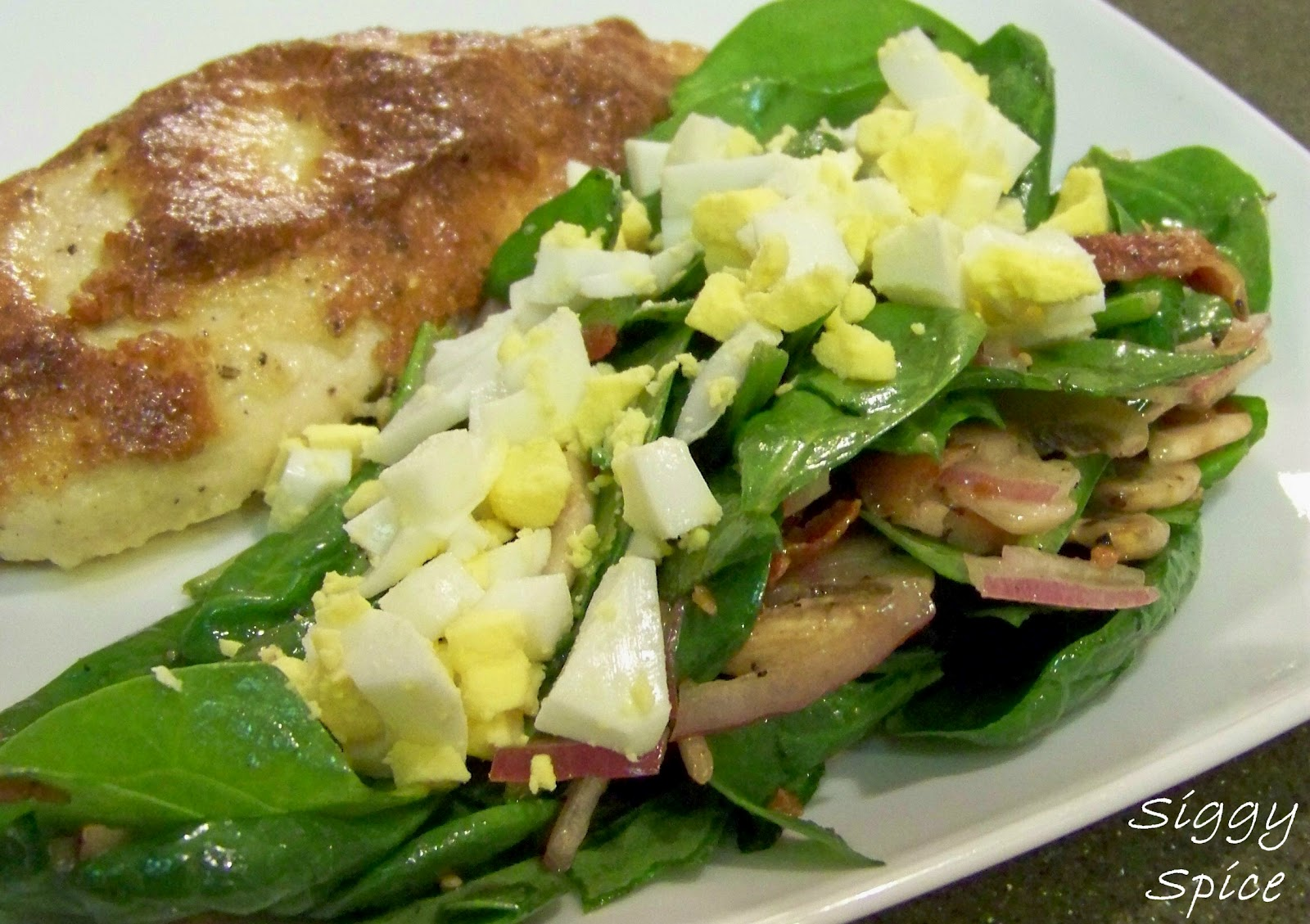Siggy Spice Spinach Salad With Warm Bacon Dressing