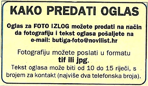 BUTIGA Oglasi - oglasnik   OGLASNIK INFO   NoviList: INFO