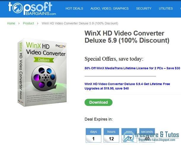 Offre promotionnelle : WinX HD Video Converter Deluxe 5.9 gratuit !