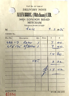 Allen Bros delivery note 9 February 1985
