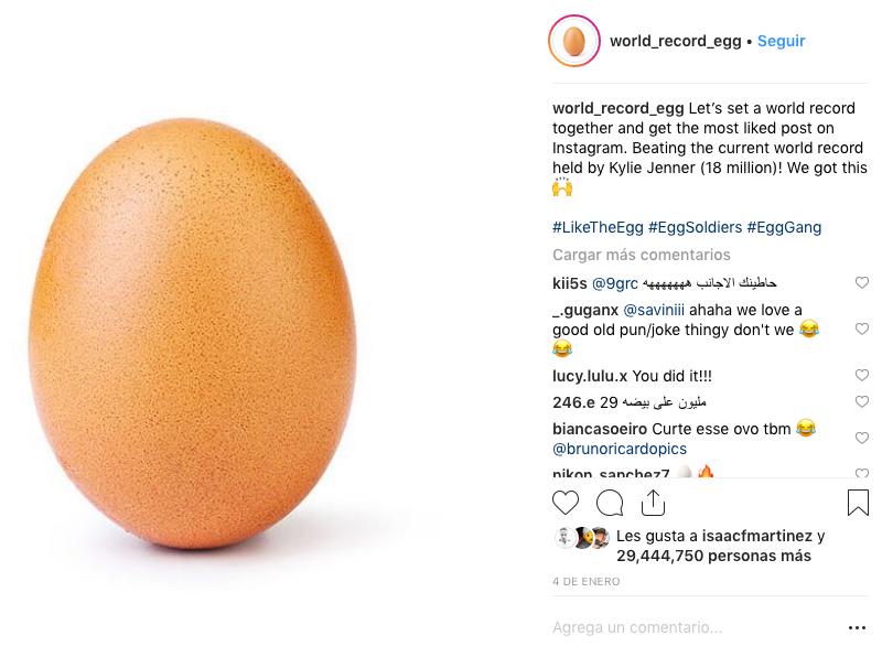 """Un huevo, la foto con más """"me gusta"""" en Instagram"""