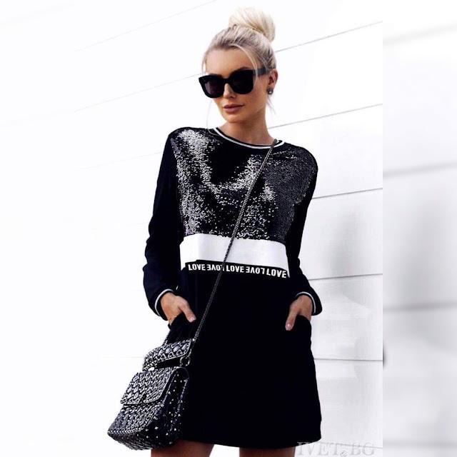 Μακρυμάνικο μαύρο φόρεμα SHARON