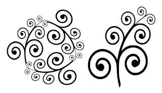 Plottervorlage:zwei Figuren mit filigranen Schnörkeln