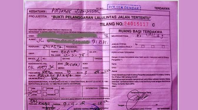 Arti Warna Jenis Surat Tilang Polisi