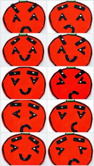 Changeable faces from a DIY Cardboard Pumpkin