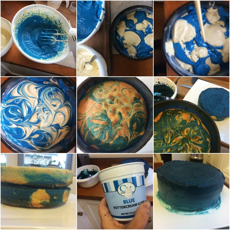 Marble cake process collage