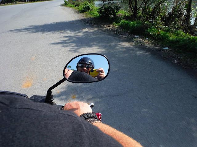 mirror selfie motorcycle ninh binh vietnam
