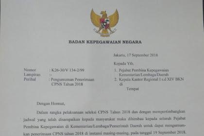 Surat Edaran Penerimaan CPNS Tahun 2018