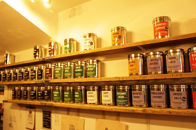 Brighton Bluebird Tea Co tea wall