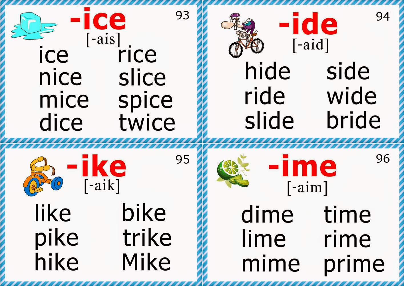 Worksheets Igh Words Phonics phonics flashcards long i vowel sound