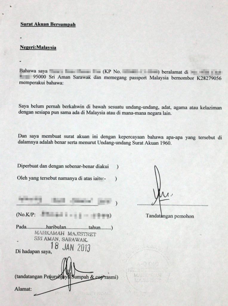 17 Contoh Surat Akuan Bujang Terengganu Kumpulan Contoh Surat
